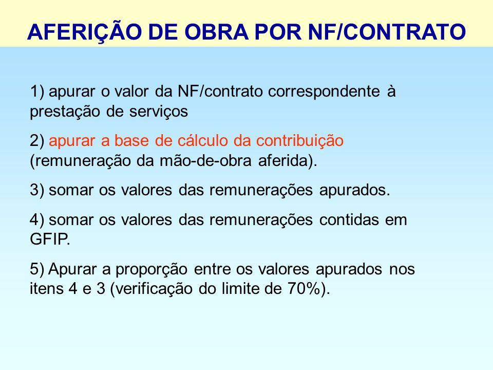 1) apurar o valor da NF/contrato correspondente à prestação de serviços 2) apurar a base de cálculo da contribuição (remuneração da mão-de-obra aferid