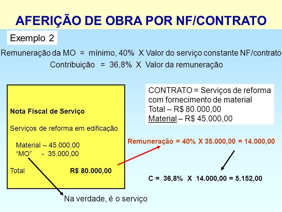 Remuneração da MO = mínimo, 40% X Valor do serviço constante NF/contrato Contribuição = 36,8% X Valor da remuneração Nota Fiscal de Serviço Serviços d