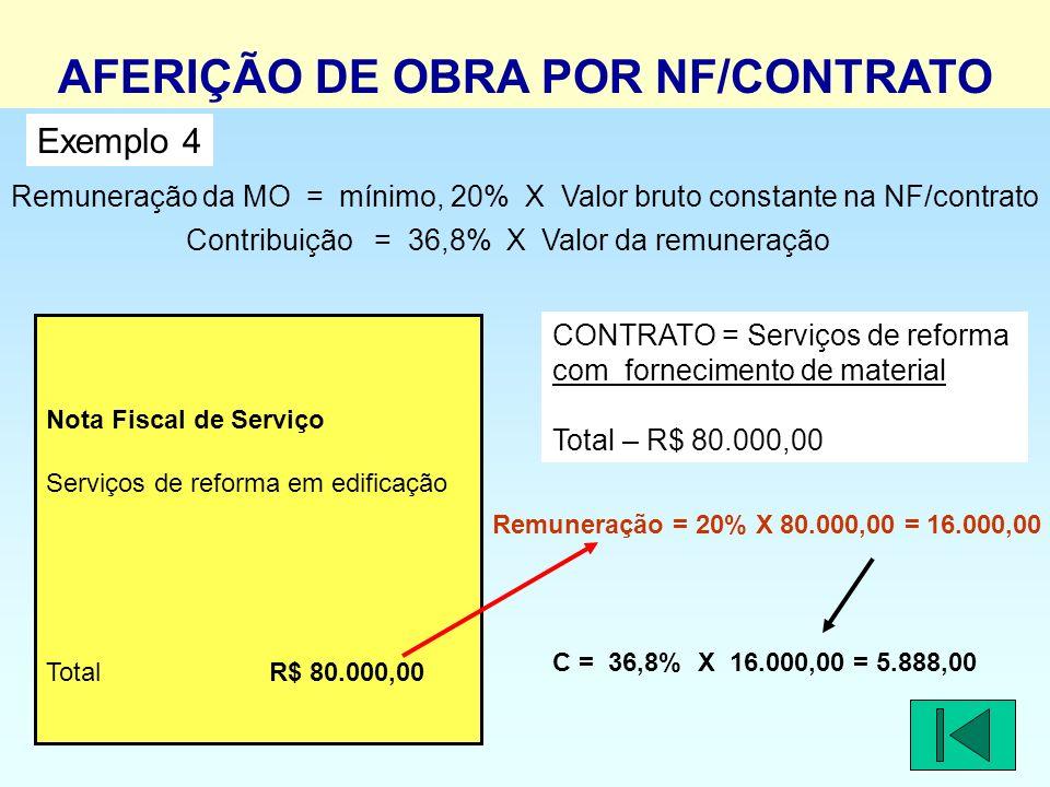 Remuneração da MO = mínimo, 20% X Valor bruto constante na NF/contrato Contribuição = 36,8% X Valor da remuneração Nota Fiscal de Serviço Serviços de