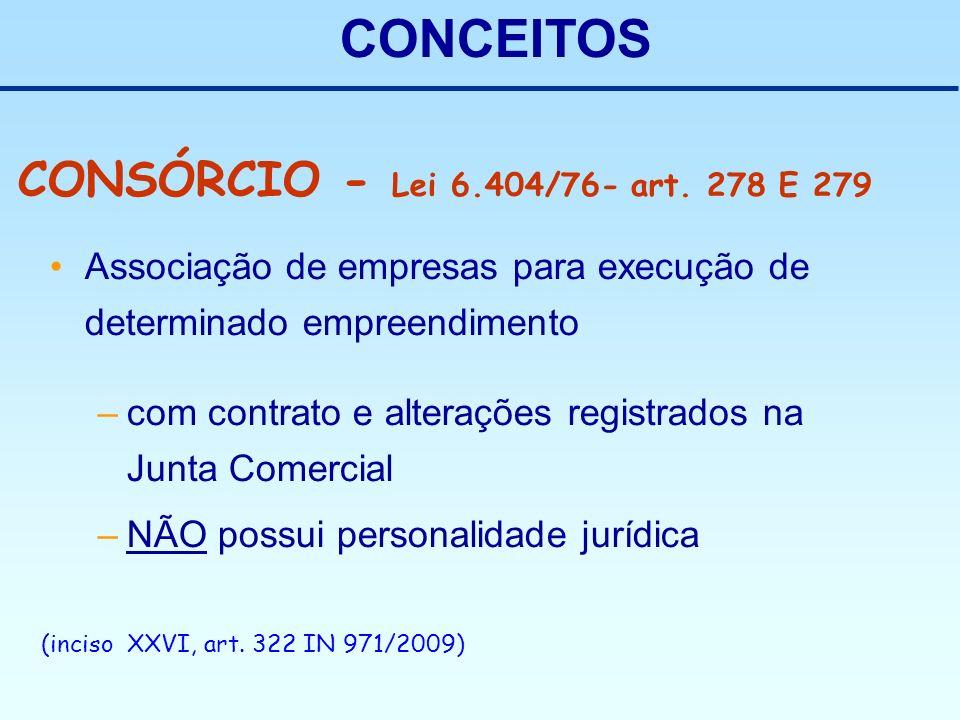 CONCEITOS Associação de empresas para execução de determinado empreendimento –com contrato e alterações registrados na Junta Comercial –NÃO possui per