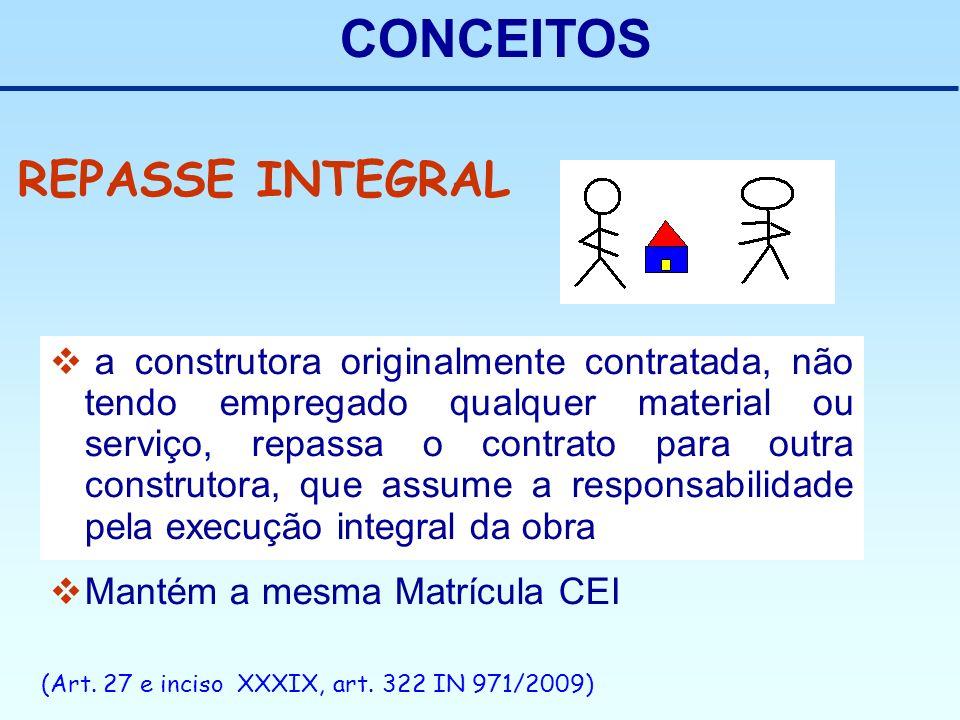 CONCEITOS a construtora originalmente contratada, não tendo empregado qualquer material ou serviço, repassa o contrato para outra construtora, que ass