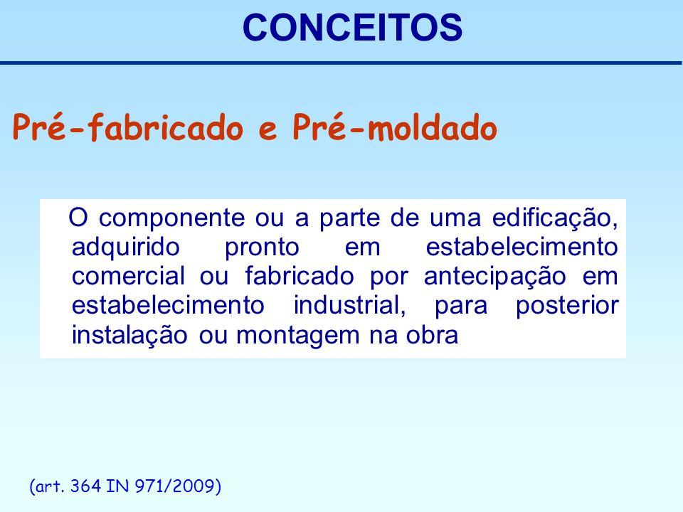 CONCEITOS O componente ou a parte de uma edificação, adquirido pronto em estabelecimento comercial ou fabricado por antecipação em estabelecimento ind
