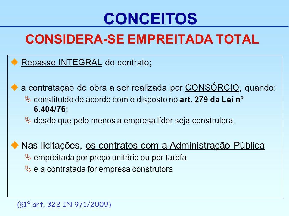 CONSIDERA-SE EMPREITADA TOTAL Repasse INTEGRAL do contrato; a contratação de obra a ser realizada por CONSÓRCIO, quando: constituído de acordo com o d