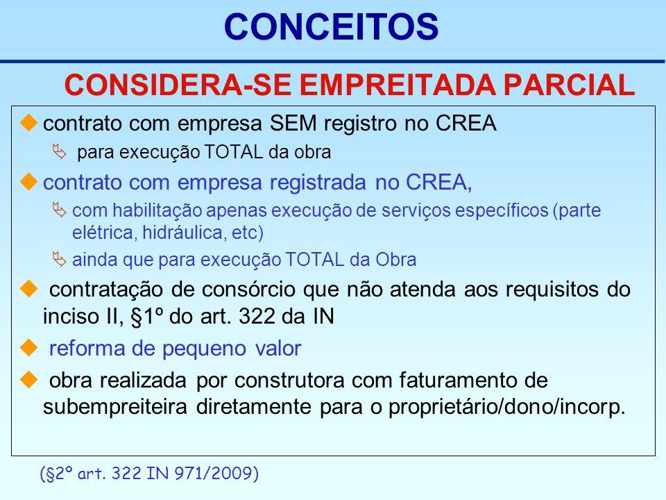 CONSIDERA-SE EMPREITADA PARCIAL contrato com empresa SEM registro no CREA para execução TOTAL da obra contrato com empresa registrada no CREA, com hab