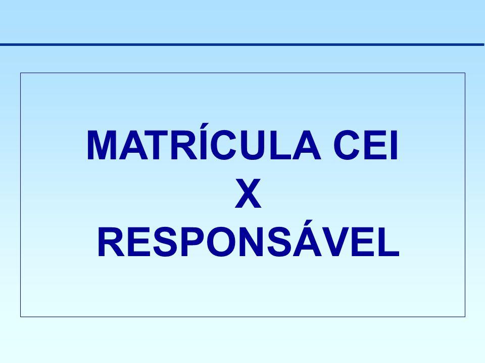 MATRÍCULA CEI X RESPONSÁVEL