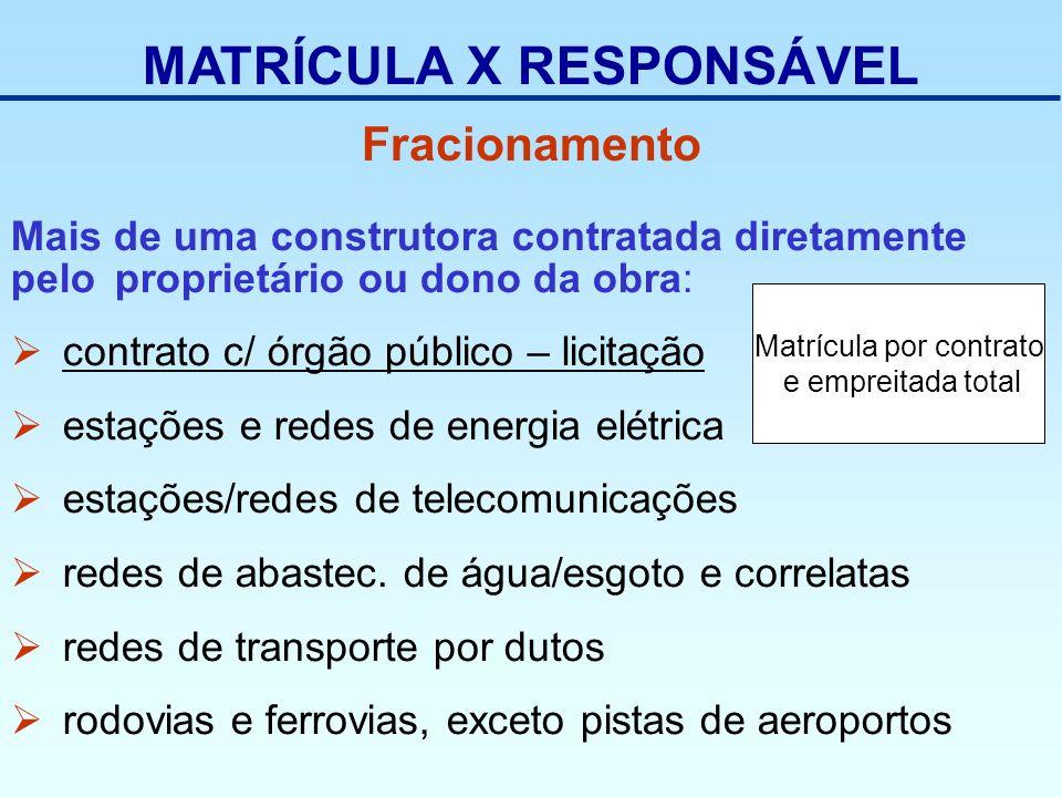 MATRÍCULA X RESPONSÁVEL Mais de uma construtora contratada diretamente pelo proprietário ou dono da obra: contrato c/ órgão público – licitação estaçõ