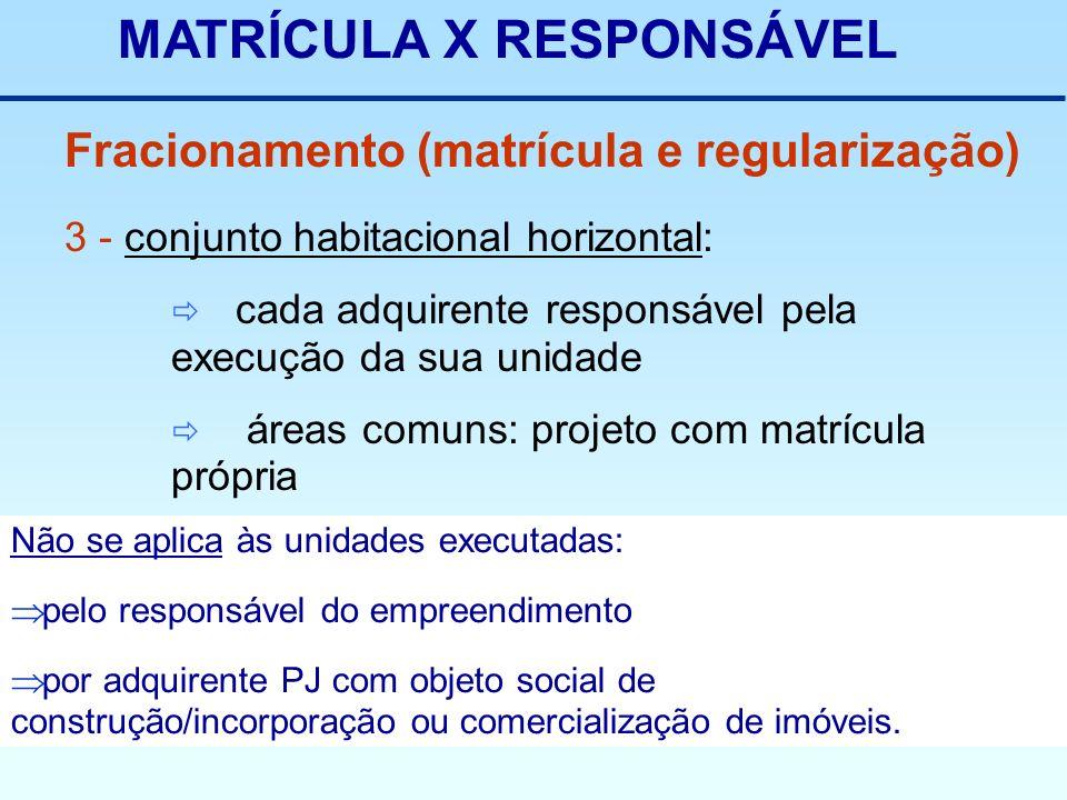 Não se aplica às unidades executadas: pelo responsável do empreendimento por adquirente PJ com objeto social de construção/incorporação ou comercializ