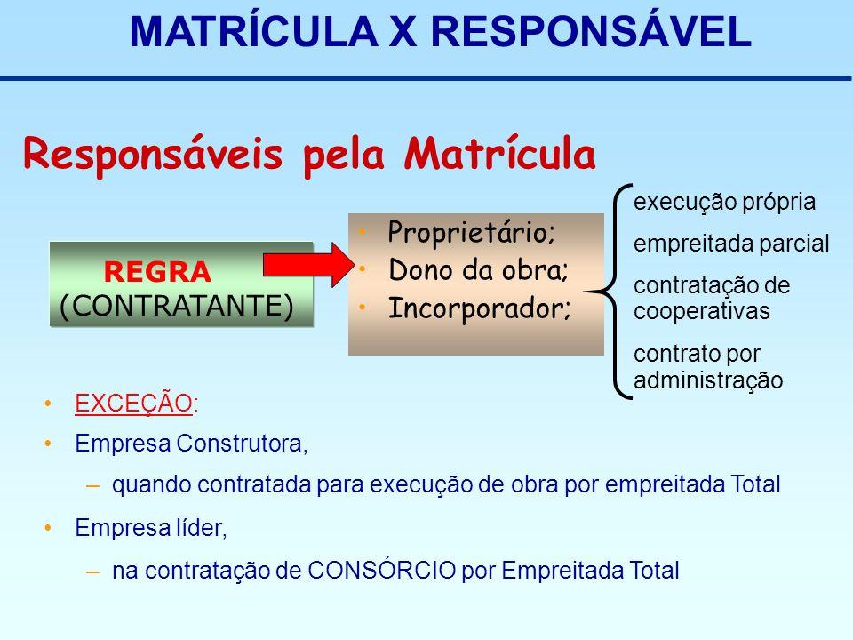 MATRÍCULA X RESPONSÁVEL Responsáveis pela Matrícula REGRA (CONTRATANTE) Proprietário; Dono da obra; Incorporador; EXCEÇÃO: Empresa Construtora, –quand