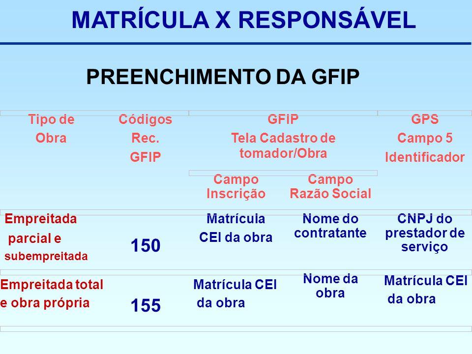 MATRÍCULA X RESPONSÁVEL Campo Razão Social Campo Inscrição Nome da obra 155 CNPJ do prestador de serviço Nome do contratante Matrícula CEI da obra 150