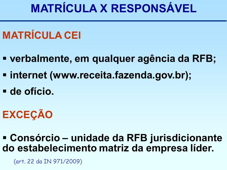 MATRÍCULA X RESPONSÁVEL MATRÍCULA CEI verbalmente, em qualquer agência da RFB; internet (www.receita.fazenda.gov.br); de ofício. EXCEÇÃO Consórcio – u