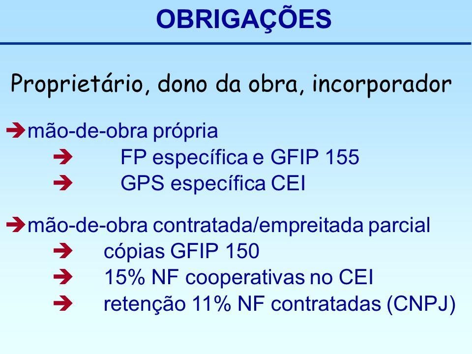 OBRIGAÇÕES Proprietário, dono da obra, incorporador mão-de-obra própria FP específica e GFIP 155 GPS específica CEI mão-de-obra contratada/empreitada