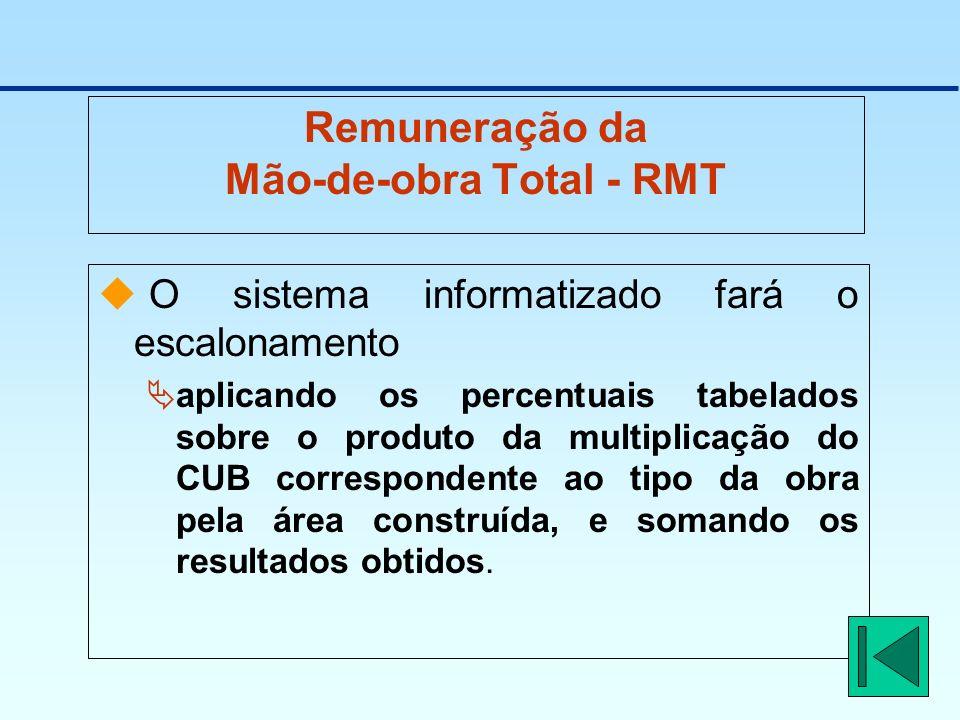 Remuneração da Mão-de-obra Total - RMT O sistema informatizado fará o escalonamento aplicando os percentuais tabelados sobre o produto da multiplicaçã