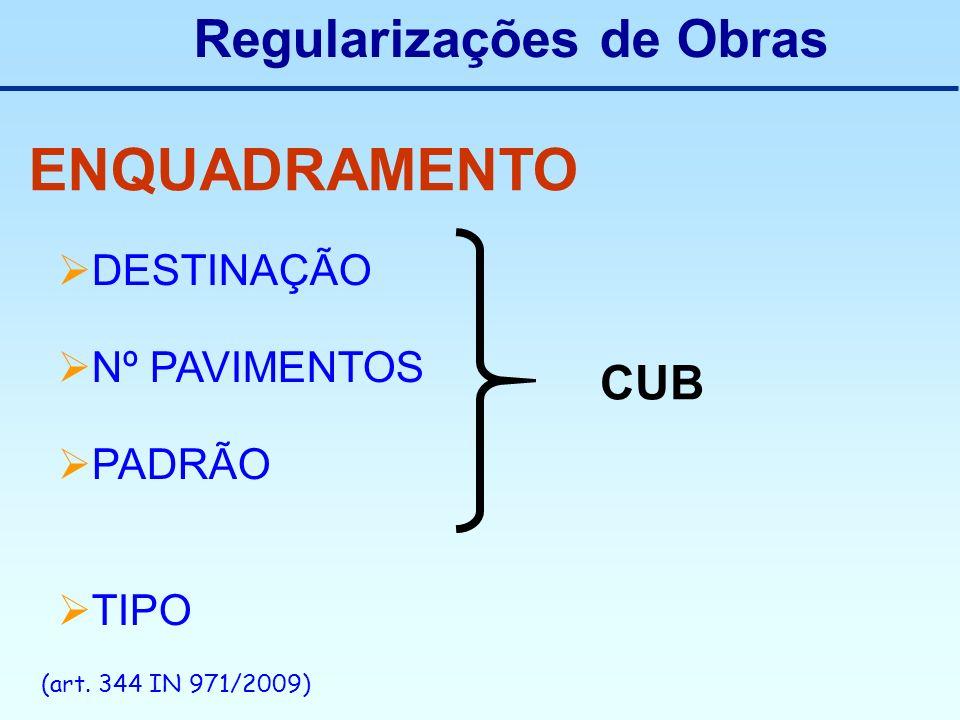 Regularizações de Obras ENQUADRAMENTO DESTINAÇÃO Nº PAVIMENTOS PADRÃO TIPO CUB (art. 344 IN 971/2009)