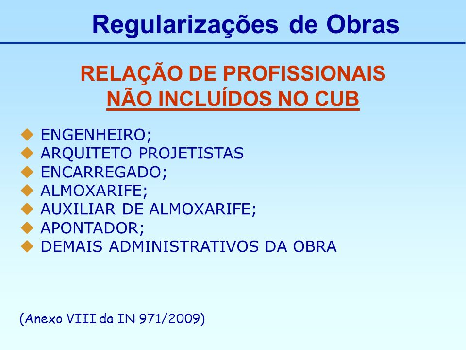 RELAÇÃO DE PROFISSIONAIS NÃO INCLUÍDOS NO CUB ENGENHEIRO; ARQUITETO PROJETISTAS ENCARREGADO; ALMOXARIFE; AUXILIAR DE ALMOXARIFE; APONTADOR; DEMAIS ADM