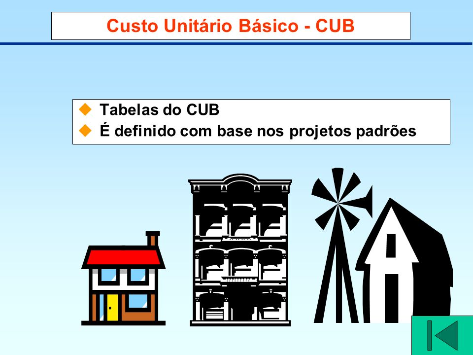 Custo Unitário Básico - CUB Tabelas do CUB É definido com base nos projetos padrões