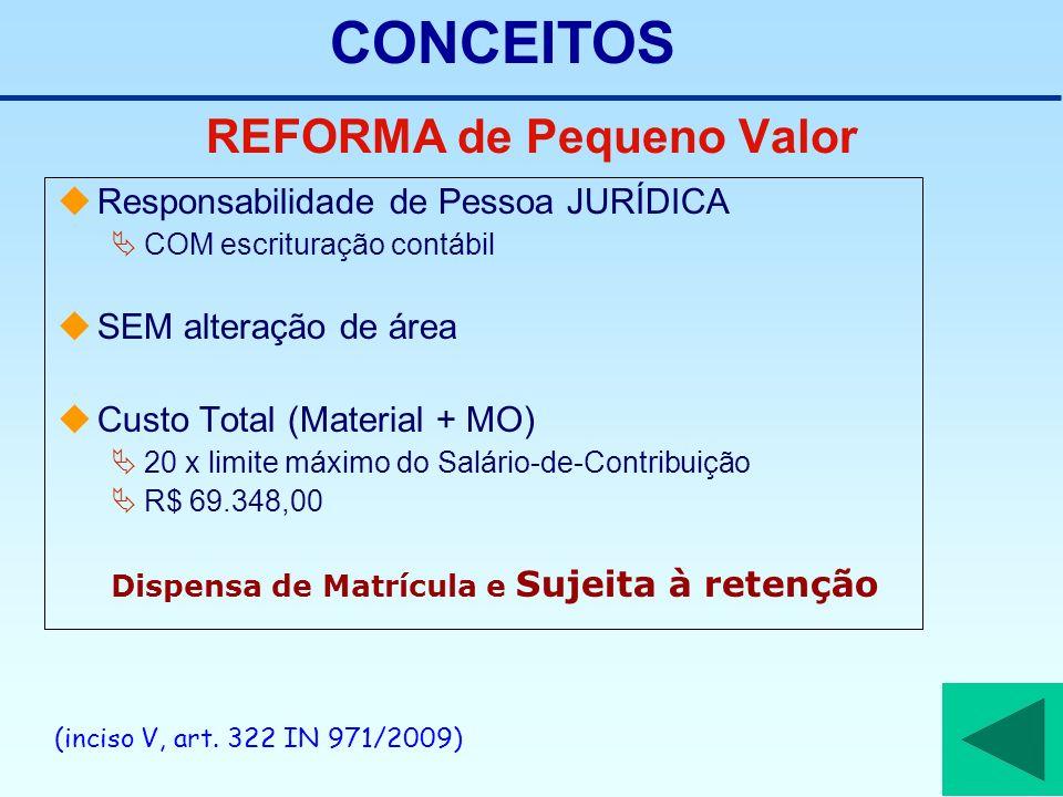 REFORMA de Pequeno Valor Responsabilidade de Pessoa JURÍDICA COM escrituração contábil SEM alteração de área Custo Total (Material + MO) 20 x limite m