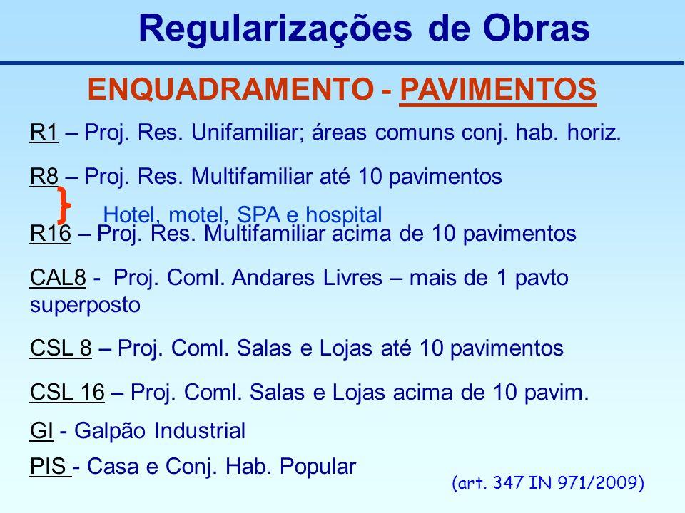 Regularizações de Obras ENQUADRAMENTO - PAVIMENTOS R1 – Proj. Res. Unifamiliar; áreas comuns conj. hab. horiz. R8 – Proj. Res. Multifamiliar até 10 pa