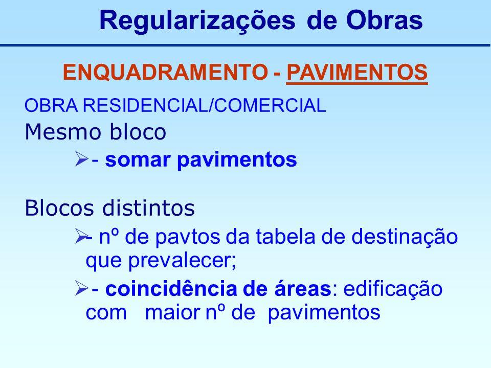 Regularizações de Obras ENQUADRAMENTO - PAVIMENTOS OBRA RESIDENCIAL/COMERCIAL Mesmo bloco - somar pavimentos Blocos distintos - nº de pavtos da tabela