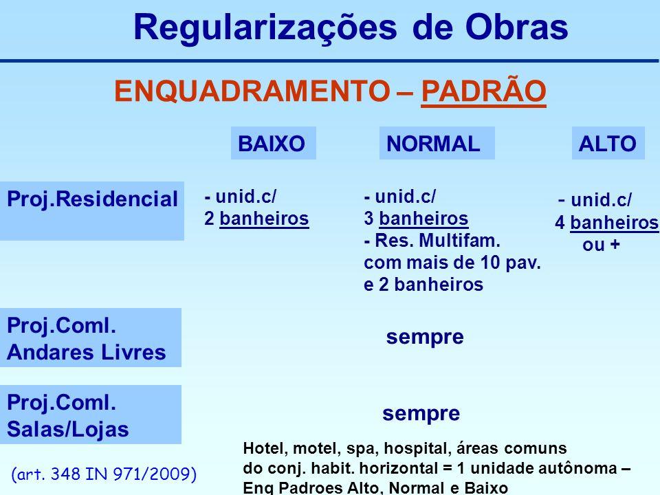 Regularizações de Obras ENQUADRAMENTO – PADRÃO BAIXONORMALALTO Proj.Residencial Proj.Coml. Andares Livres Proj.Coml. Salas/Lojas - unid.c/ 2 banheiros