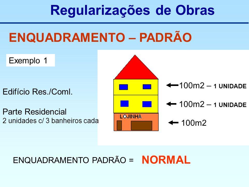 Regularizações de Obras ENQUADRAMENTO – PADRÃO Exemplo 1 Edifício Res./Coml. Parte Residencial 2 unidades c/ 3 banheiros cada 100m2 – 1 UNIDADE 100m2