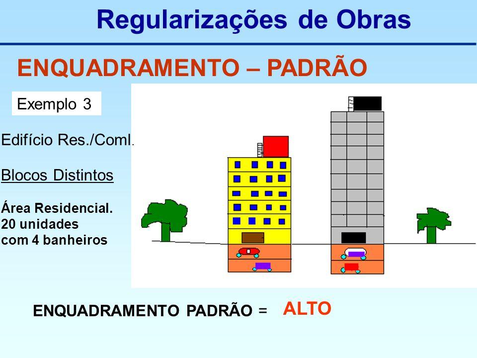 Regularizações de Obras ENQUADRAMENTO – PADRÃO Exemplo 3 Edifício Res./Coml. Blocos Distintos Área Residencial. 20 unidades com 4 banheiros ENQUADRAME