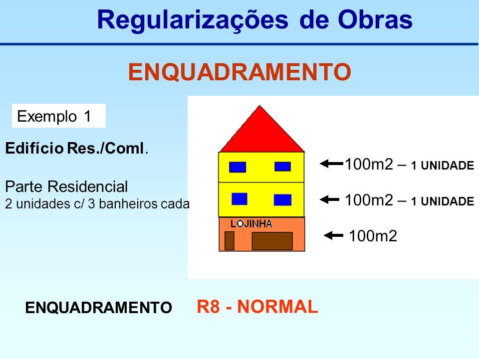 Regularizações de Obras ENQUADRAMENTO Exemplo 1 Edifício Res./Coml. Parte Residencial 2 unidades c/ 3 banheiros cada 100m2 – 1 UNIDADE 100m2 ENQUADRAM