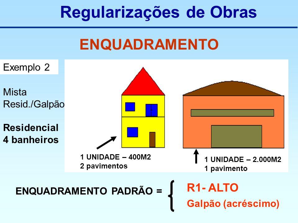 Regularizações de Obras ENQUADRAMENTO Exemplo 2 Mista Resid./Galpão Residencial 4 banheiros 1 UNIDADE – 400M2 2 pavimentos 1 UNIDADE – 2.000M2 1 pavim