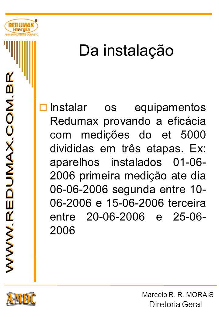 Da instalação Instalar os equipamentos Redumax provando a eficácia com medições do et 5000 divididas em três etapas. Ex: aparelhos instalados 01-06- 2