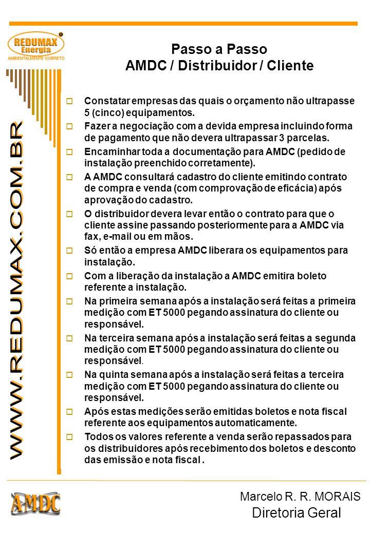 Passo a Passo AMDC / Distribuidor / Cliente Constatar empresas das quais o orçamento não ultrapasse 5 (cinco) equipamentos. Fazer a negociação com a d