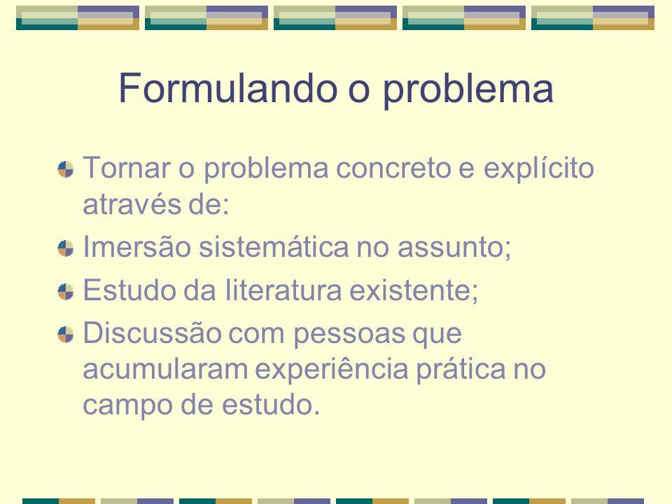 Formulando o problema Tornar o problema concreto e explícito através de: Imersão sistemática no assunto; Estudo da literatura existente; Discussão com pessoas que acumularam experiência prática no campo de estudo.