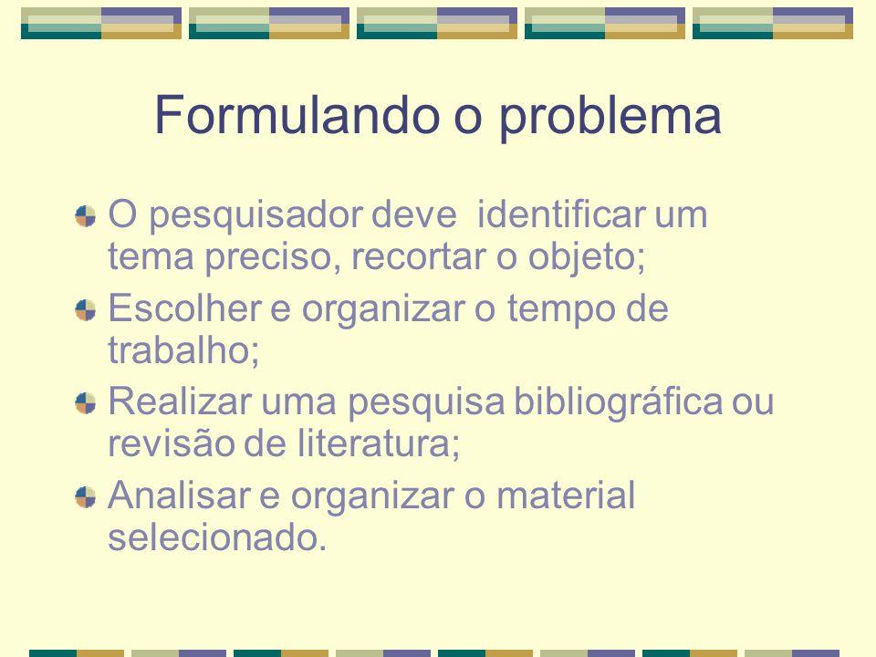 Formulando o problema O pesquisador deve identificar um tema preciso, recortar o objeto; Escolher e organizar o tempo de trabalho; Realizar uma pesqui