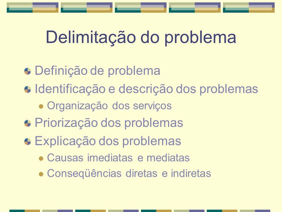 Delimitação do problema Definição de problema Identificação e descrição dos problemas Organização dos serviços Priorização dos problemas Explicação dos problemas Causas imediatas e mediatas Conseqüências diretas e indiretas