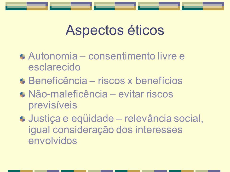 Aspectos éticos Autonomia – consentimento livre e esclarecido Beneficência – riscos x benefícios Não-maleficência – evitar riscos previsíveis Justiça e eqüidade – relevância social, igual consideração dos interesses envolvidos
