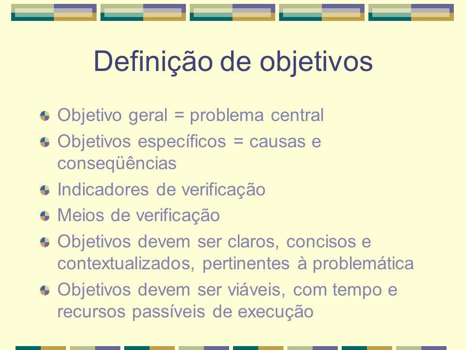Definição de objetivos Objetivo geral = problema central Objetivos específicos = causas e conseqüências Indicadores de verificação Meios de verificação Objetivos devem ser claros, concisos e contextualizados, pertinentes à problemática Objetivos devem ser viáveis, com tempo e recursos passíveis de execução