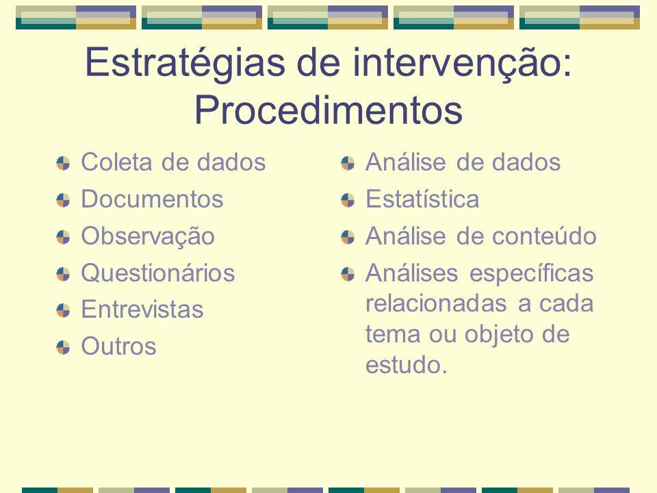 Estratégias de intervenção: Procedimentos Coleta de dados Documentos Observação Questionários Entrevistas Outros Análise de dados Estatística Análise