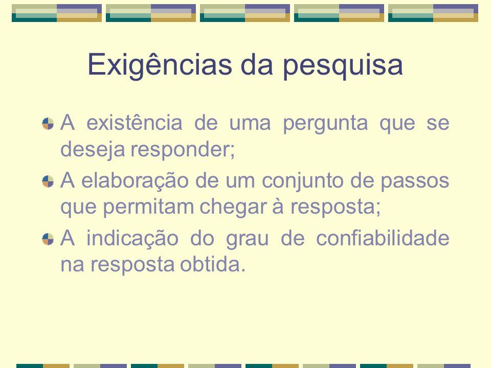 Exigências da pesquisa A existência de uma pergunta que se deseja responder; A elaboração de um conjunto de passos que permitam chegar à resposta; A i