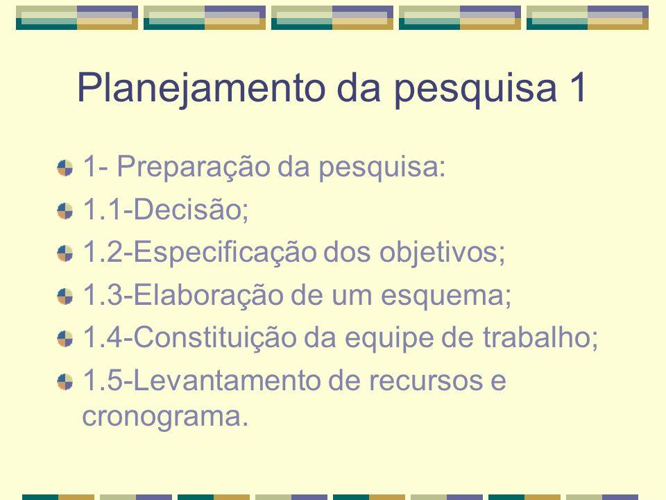 Planejamento da pesquisa 1 1- Preparação da pesquisa: 1.1-Decisão; 1.2-Especificação dos objetivos; 1.3-Elaboração de um esquema; 1.4-Constituição da