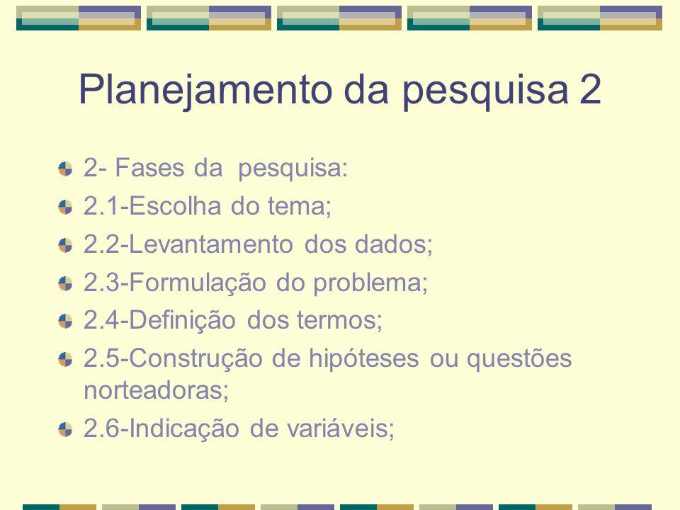 Planejamento da pesquisa 2 2- Fases da pesquisa: 2.1-Escolha do tema; 2.2-Levantamento dos dados; 2.3-Formulação do problema; 2.4-Definição dos termos