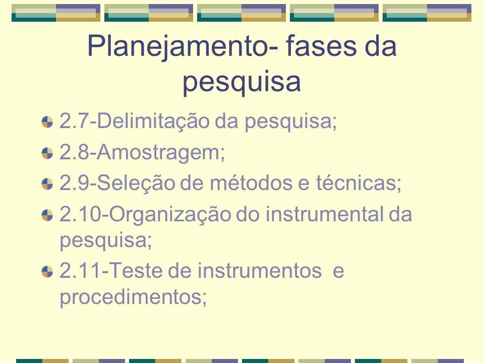 Planejamento- fases da pesquisa 2.7-Delimitação da pesquisa; 2.8-Amostragem; 2.9-Seleção de métodos e técnicas; 2.10-Organização do instrumental da pe