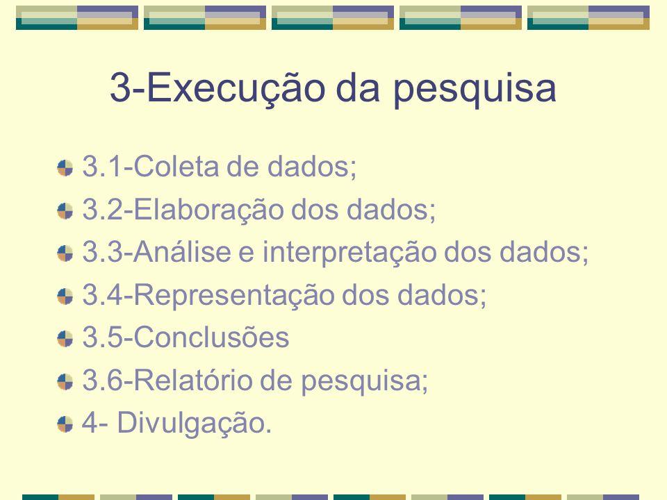 3-Execução da pesquisa 3.1-Coleta de dados; 3.2-Elaboração dos dados; 3.3-Análise e interpretação dos dados; 3.4-Representação dos dados; 3.5-Conclusõ