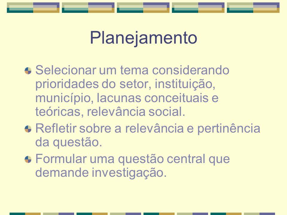 Planejamento Selecionar um tema considerando prioridades do setor, instituição, município, lacunas conceituais e teóricas, relevância social. Refletir