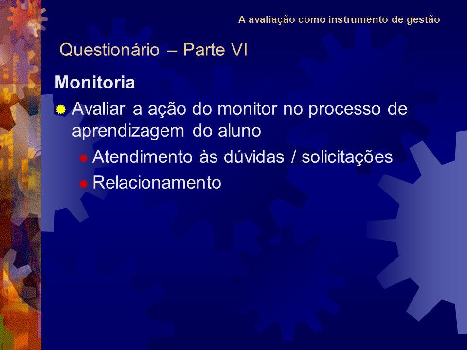 A avaliação como instrumento de gestão Monitoria Avaliar a ação do monitor no processo de aprendizagem do aluno Atendimento às dúvidas / solicitações Relacionamento Questionário – Parte VI