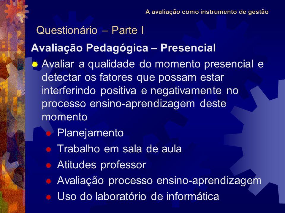 A avaliação como instrumento de gestão Avaliação Pedagógica – Presencial Avaliar a qualidade do momento presencial e detectar os fatores que possam es