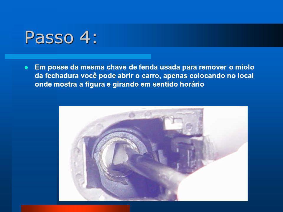 Passo 5: Como o miolo foi removido e você está fazendo o mesmo processo com a chave de fenda que o miolo faria no caso de posse da chave, porém com a chave de fenda, o carro abre.