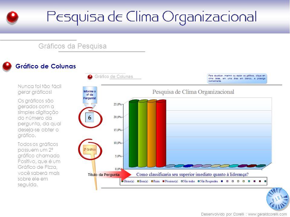 Gráficos da Pesquisa Gráfico de Colunas Desenvolvido por Corelli : www.geraldcorelli.com Nunca foi tão fácil gerar gráficos! Os gráficos são gerados c