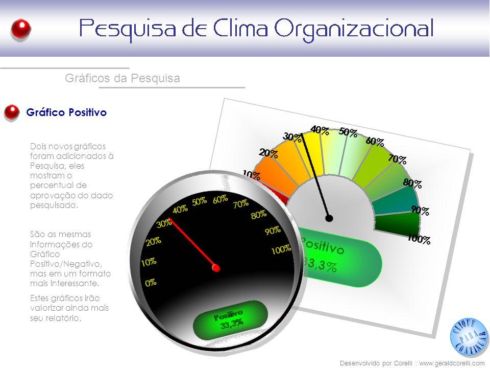 Gráficos da Pesquisa Gráfico Positivo Desenvolvido por Corelli : www.geraldcorelli.com Dois novos gráficos foram adicionados à Pesquisa, eles mostram