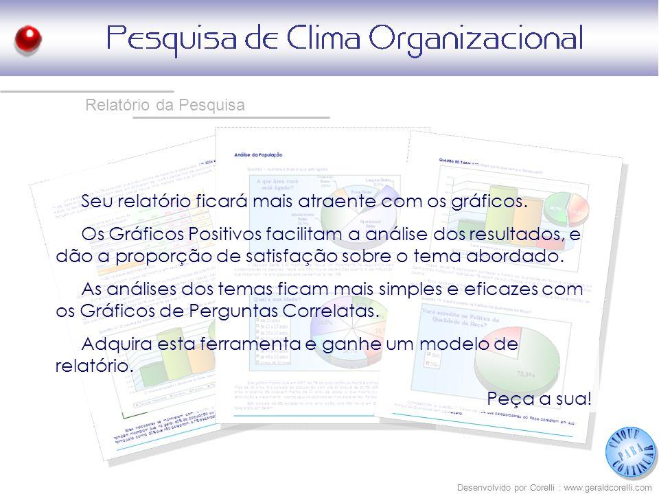 Desenvolvido por Corelli : www.geraldcorelli.com Seu relatório ficará mais atraente com os gráficos. Os Gráficos Positivos facilitam a análise dos res