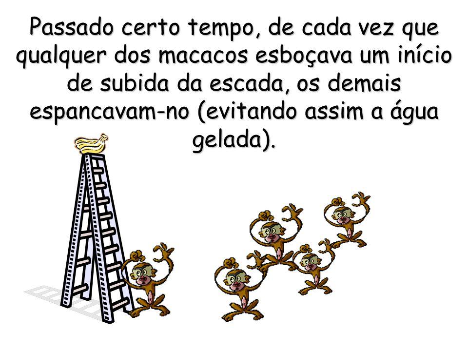 Passado certo tempo, de cada vez que qualquer dos macacos esboçava um início de subida da escada, os demais espancavam-no (evitando assim a água gelada).