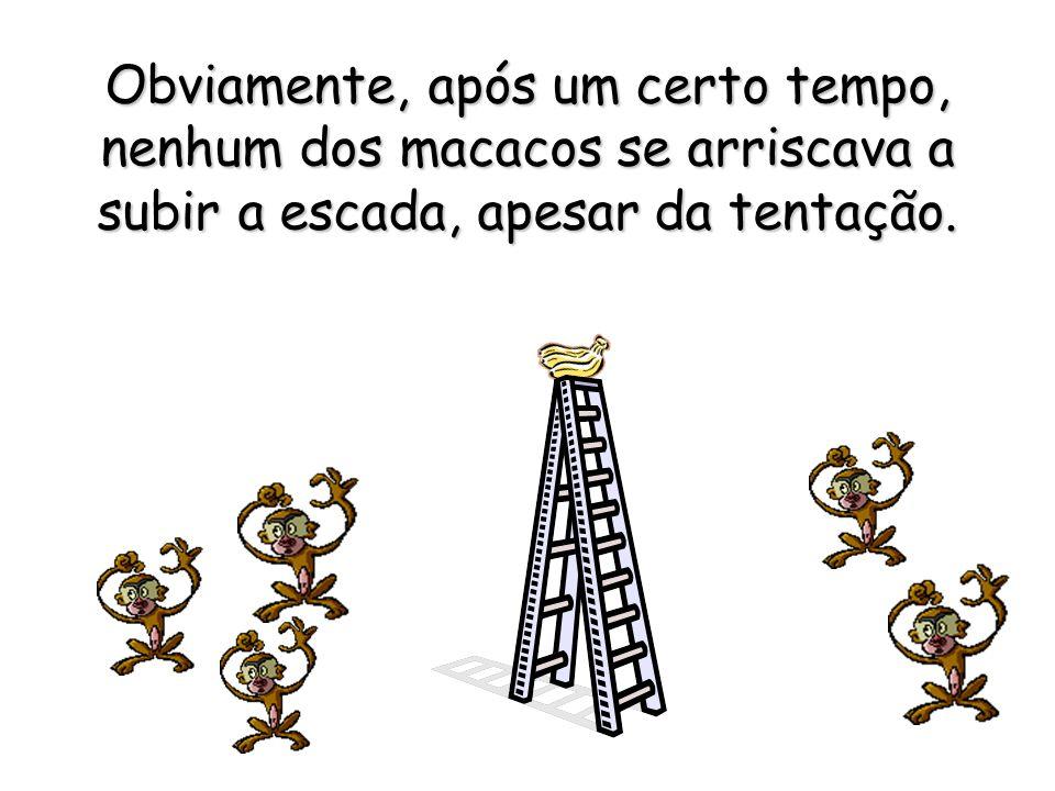 Passado certo tempo, de cada vez que qualquer dos macacos esboçava um início de subida da escada, os demais espancavam-no (evitando assim a água gelad