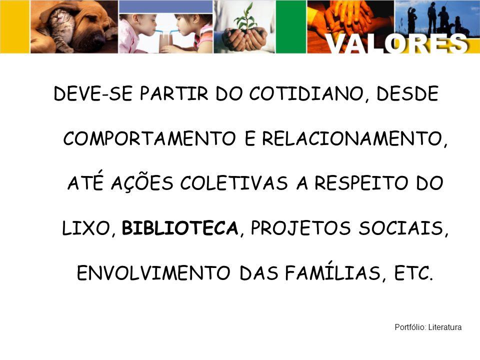 DEVE-SE PARTIR DO COTIDIANO, DESDE COMPORTAMENTO E RELACIONAMENTO, ATÉ AÇÕES COLETIVAS A RESPEITO DO LIXO, BIBLIOTECA, PROJETOS SOCIAIS, ENVOLVIMENTO DAS FAMÍLIAS, ETC.